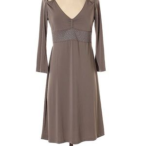 Taupe BCBG vneck dress with cut-outs